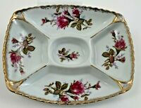 Vintage Pretty Chintz Divided Relish Dish Roses Transfer Ware w Gold Trim Japan