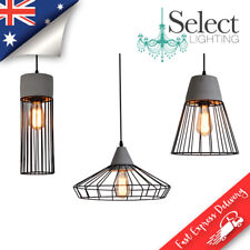 CONCRETE - NEW - Black Wire Shade & Grey Concrete hanging pendant lighting !
