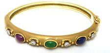 18k Yellow Gold, Diamond, Emerald, Sapphire & Ruby Bangle Bracelet 0.20 Cts.
