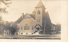 Corning IA 1st Congregational Church~Stained-Glass Window~Pole Leaner RPPC c1910
