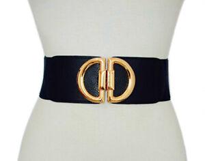 Women Ladies Wide Fashion Gold DD Black Cinch Waist Belt Elastic Stretch Gift UK