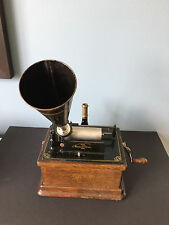 EDISON FIRESIDE PHONOGRAPH TYPE A COMPLETE WITH 12 CYLINDER RECORDS, WORKING