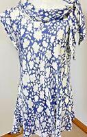 MASAI Clothing Size XS 8 Shift Dress Long Top Blue White Floral Smock Cowl Neck