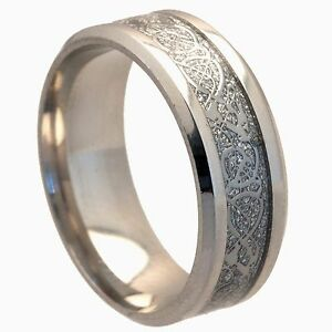 8mm Stainless Steel Mens & Womens Wedding Band - Silver Celtic Ring Size J to Z4