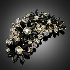 VINTAGE INSPIRED GOLD PLATED LARGE STATEMENT BLACK AND GREY RHINESTONE  BROOCH