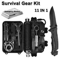 11 Pcs Outdoor Survival Camping Military Gear Kit Tactical  EDC Emergency Tools