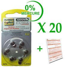 20 plaquettes de 6 piles auditives RAYOVAC N° 10  (PR70) free mercure
