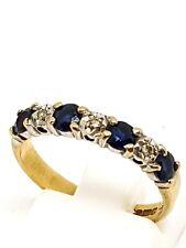 Lo zaffiro e diamante metà eternità anello oro giallo 9 KT Taglia L 1/2 marchiato