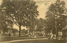 Posted 1907-15 Printed Postcard Fountain in Clemens Park Mt Clemens MI Macomb Co