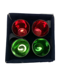 4 Christmas Glass Festive Tumblers Red Green Gold Vintage
