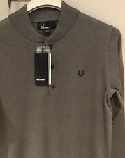 "Fred Perry : Bomber Neck Sweater / Jumper ( S 38"") Grey Marl"