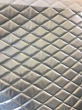 Silver Wet Fetish Patent Quilted Vinyl fabric with 3/8