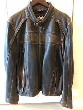Harley Davidson Mens ROADWAY Distress Brown Leather Jacket S 98002-11VM