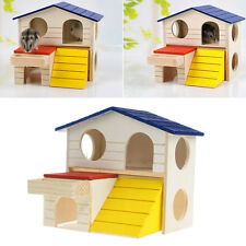 Pet Animal Wooden Bed House Cage Dual Layer Villa For Rat Mouse Dwarf Hamster