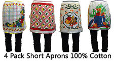 4 Pack Half Length Aprons Cotton Cooking Chef Waiter Waitress Catering New BBQ