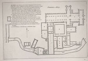 Antique Map Floor Plan, Fountains Abbey, Ripon, Yorkshire, Original Print