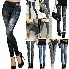 Damen Hose Leggins Leggings Jeggins Jeans Look Stretch Röhre Slim Damenhose Hose
