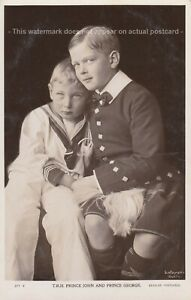 T.R.H. Prince John and Prince George Beagle real photograph postcard