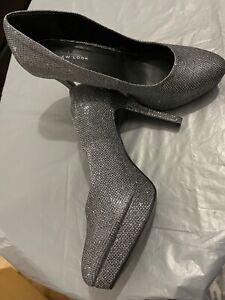 BN Unboxed New Look Elegant Silver Metallic Platform High Heel Shoes Size 8W