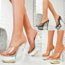 Womens High Heel Perspex Platform Mules Sexy Clear Stilleto Party Shoes Glass