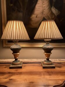 Stylish Pair Of Hand Painted & Gilt Vintage Woden Urn Shaped Table Lamps