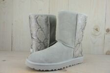 UGG CLASSIC  SHORT SILVER SNAKE EMBOSSED  ANKLE BOOTS WOMENS US 10 NEW