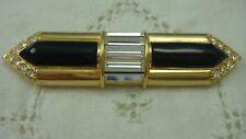 GENUINE SWAROVSKI SAL BLACK ENAMEL CRYSTAL GOLD TONE BAR  PIN BROOCH (O-31)