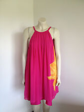 Pink Yellow Pure 100% Silk Sleeveless Swing Dress with Low Back Size 10 - 12 ?
