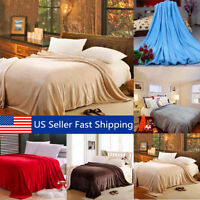 Super Soft Warm Value Solid Plush Fleece Blanket For Queen/King Bedding