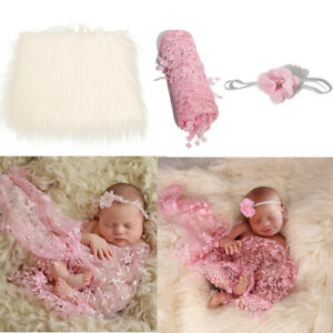 Newborn Photography Props Baby Swaddling Wrap Blanket Flower Headband Set Studio