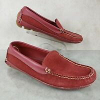 LL Bean Red Suede Slip On Moccasin Driving Loafers Comfort Shoes Women's 7.5 M