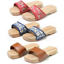 Women's Clogs Japanese Wooden Floral Sandals Slippers flats Shoes Fashion Hot