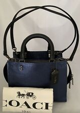 COACH 38823 1941 Rogue Bag 25 Leather Metallic Graphite Snakeskin V5/Blue NWT