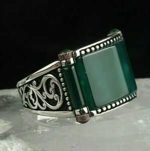 Turkish 925 Sterling Silver Handmade Jewelry Emerald Men's Ring Size 12
