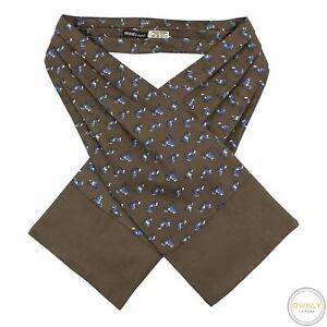 VINTAGE Hermes Paris Brown 100% Silk Pleated Riding Horse Ascot Foulard Scarf