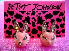 Betsey Johnson Hot Pink Bunny Stud Earrings