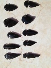 "Obsidian Black Carved Arrowheads - set of 6 - 2""-3"" size"