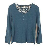 Laura Scott Women's Long Sleeve Shirt Top Crewneck Medium Size Blue Teal