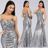 Ever-Pretty Formal Women Grey Sleeveless Evening Celebrity Gowns Dresses 07339
