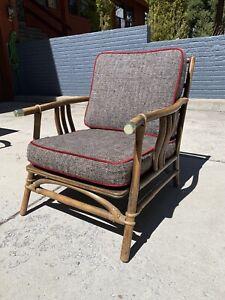 Ficks Reed Rattan Lounge Club Chair John Wisner Campaign Style Far East Coll.
