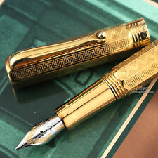 Montegrappa Reminiscence Etched 925 Vermeil Small Fountain Pen - RARE!