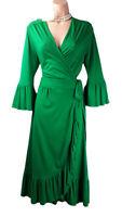 L.K. Bennett London Gorgeous  Fern Green Viscose Jersey Wrap Dress 12 uk us 8