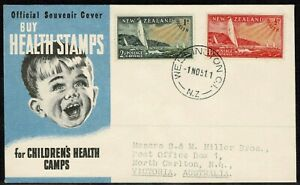 New Zealand 1951 Health Stamps FDC - Used - Addressed