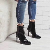 Womens Stilettos High Heel Patent Leather Front Zip Ankle Boots Pointy Toe Shoes