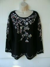 Maggie Sweet L womens embroidered black pullover sweater top