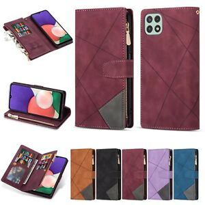 10pcs/lot Line Stitching Multi-Cards Zipper Leather Case For iPhone 13 Samsung