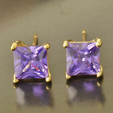 Cute New Yellow Gold Filled Amethyst Purple Princess Cut Square CZ Stud Earrings