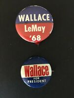 Lot of 2 Vintage 1968 WALLACE LEMAY pinback campaign buttons