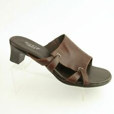 Munro American Sz 11WW  Brown Leather Mules Slides Sandals Heels Shoes M450921