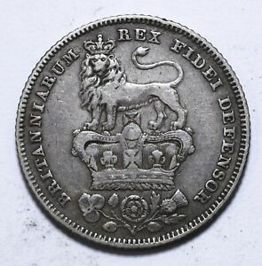 1828, UK, 6 Pence, George IV, Silver, VF, KM# 698, Lot [2074]